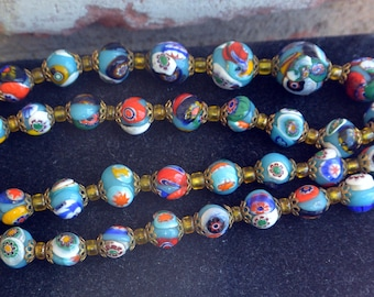 Millefiori Glass Beaded Necklace - Italy, Graduated Beads, Multi-Colors -Free US Shipping  -Vintage -Fabulous!