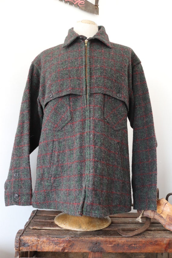 "Vintage LL Bean grey red green checked wool zip up jacket 48"" chest hunting hiking camping"