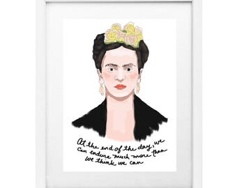 "Frida Kahlo Portrait and Quotes 8x10"" Print"