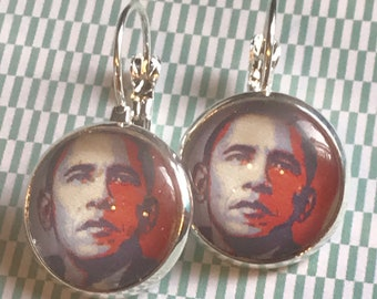 President Barack Obama glass cabochon earrings - 16mm