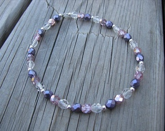 Metallic Purple, Pink, Clear, and Silver Beaded Ankle Bracelet