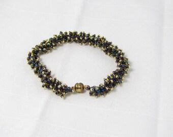 Blue and Gold Fringe Bracelet