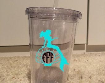 Mermaid monogram wine glass or tumbler
