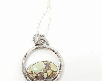 Handmade sterling silver circle hubei turquoise pendant .925