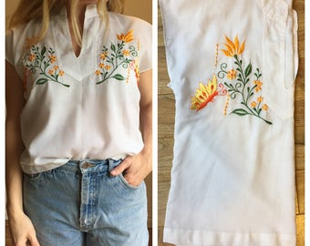 Vintage 60s Blouse, Mexican Embroidered Blouse, Butterfly, Cap Sleeves, White Cotton, Cotton Gauze, Asian, Bohemian Shirt, Hippy Gypsy BOHO