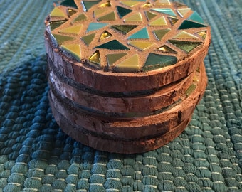 Set of 4 Rustic Mosaic Coasters