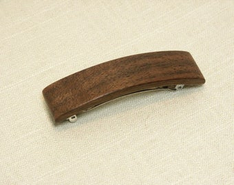 Walnut Barrette / Hair Clip / French Barrette