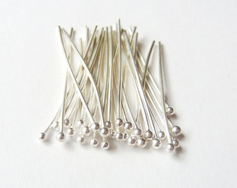 50pcs - 24 Gauge - Fine Silver Headpins - Coose your Length - Tagt Team
