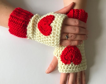 Crochet heart fingerless gloves. womens crochet arm warmers. Christmas gift for her.