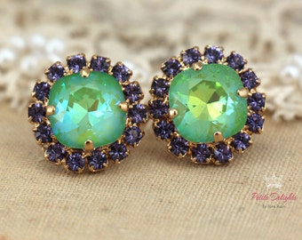 Green Mint Studs,Purple Green Earrings,Swarovski Stud Earrings,Gift for Her,Green Apple Swarovski Earrings,Bridal Earrings,Bridesmaids Gifts