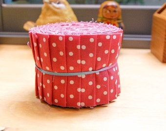 "Jelly Roll Fabric 20 Strips 2.5 x 44"" Pastel Pink and White Polka Dot"