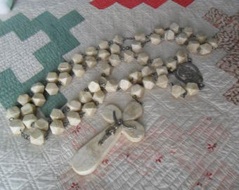 Antique  Rosary~Alabaster and Metal~Madonna and Jesus~European