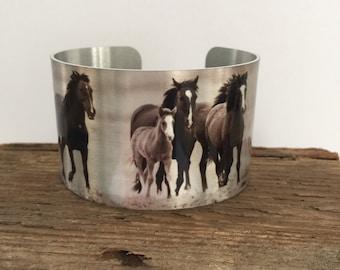 """Horse jewelryWild Horse Aluminum Cuff Bracelet. """"Hoofbeats"""""""