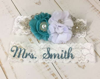 Wedding garter, monogrammed, personalized, something blue