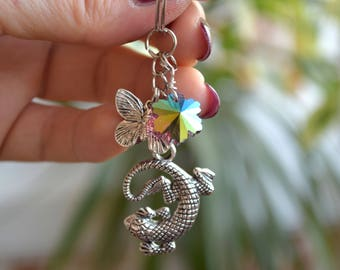 Lizard Charm keychain Summer Woodland key ring Silver Charms Butterfly keyring keychains key chain Nature lover gift animal bag charms