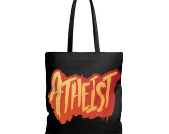 Atheist 1 In Orange Double Sided Tote Bag