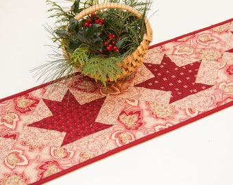 Christmas Quilted Table Runner Red Baskets