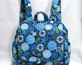 Small backpack- Blue floral print cotton