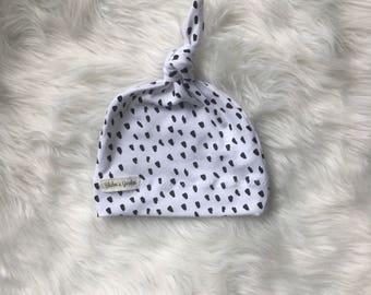 Newborn Hat/ Baby Hat/ Organic Cotton Hat/ Baby Knotted Hat/ Knotted Cap/ Organic Cotton Baby Hat/ Newborn Infant Hat/ink spots
