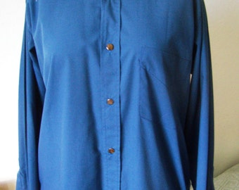 Vintage 1980's old stock, Royal blue shirt long sleeve, size 3/M, new