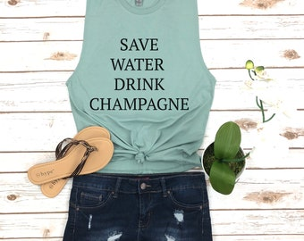 Save Water, Drink Champagne, Brunch Mimosas Shirt, Hipster Brunch Tank, Gifts for Brides, Bachelorette Shirt, May Contain Alcohol Tank Top