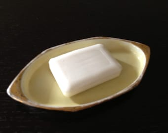 Vintage Austrian MZ Porcelain Small Yellow and Gold Dish Soap Dish