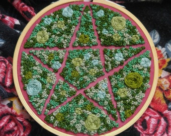 4in. 3D Lichen and Moss Pentacle Embroidery Art