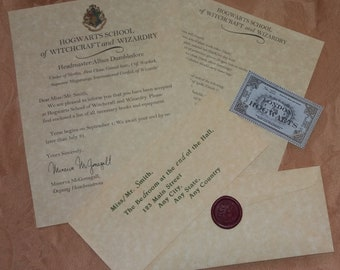 HOGWARTS ACCEPTANCE LETTER Package (Authentic~Parchment Paper/Envelope~Stamped Wax Seal)-A Wonderful Gift for a Potter Fan of Any Age!