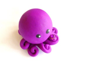 Birthstone  Little Octopus Mini Marble Friend in Birthday Month of February- Amethyst- Violet with Faux Gemstone