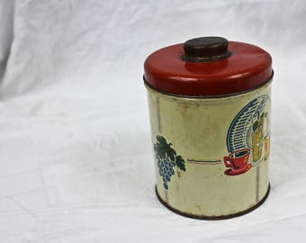 Rustic Kitchen Tin, Old Kitchen Canister, Vintage Kitchen Decor, Vintage Kitchenalia, c1950s