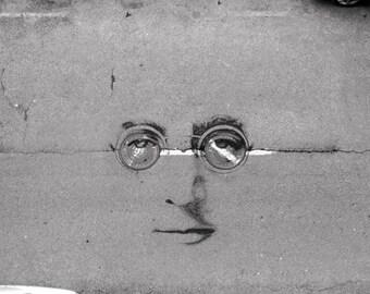 Lennon on the road (Fine art photography, John Lennon, Imagine, graffiti, street art, road, sewer, cars, Beatles)