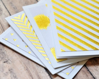 White and Gold Mini Cards // Set of 4 // Blank Cards // Gold Foil // Enclosure Cards // Guestbook // Love Notes // Advice Cards