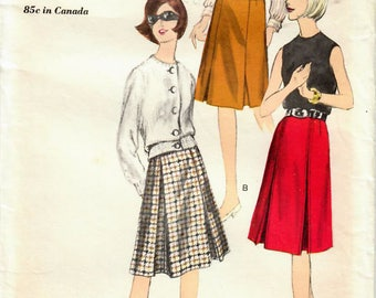 1960s Vogue 6235 UNCUT Vintage Sewing Pattern Misses Flared Skirt, Inverted Pleat Skirt, Size Waist 26