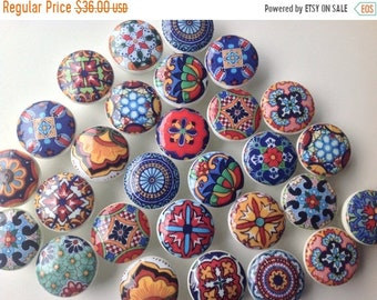 SALE15 6 wooden drawer knobs; Talavera design  hand decorated (decoupaged)1 1/2 inches (6)1 1/2 inches diameter includes inside coupler and