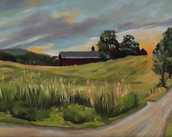 Barn On The Ridge In West Newbury Vermont Framed Oil Painting