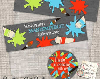 Art Party Favors, Painting Party favors printable treat bag toppers & circle labels, 2.5 inch circle labels