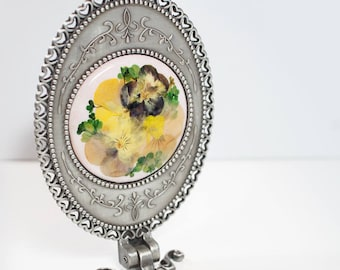 Pansy Flower Stand and hand mirror - real pressed flower, under 30 gift idea, mothers day gift