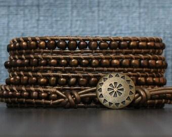 metallic bronze beaded wrap bracelet - seed beads on bronze leather - simple  modern casual bohemian jewelry - brown