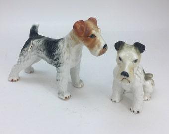 2 Vintage Japanese Porcelain Dog Figurines, Airedale Terriers, Dog Figures, Vintage Dogs, CN4