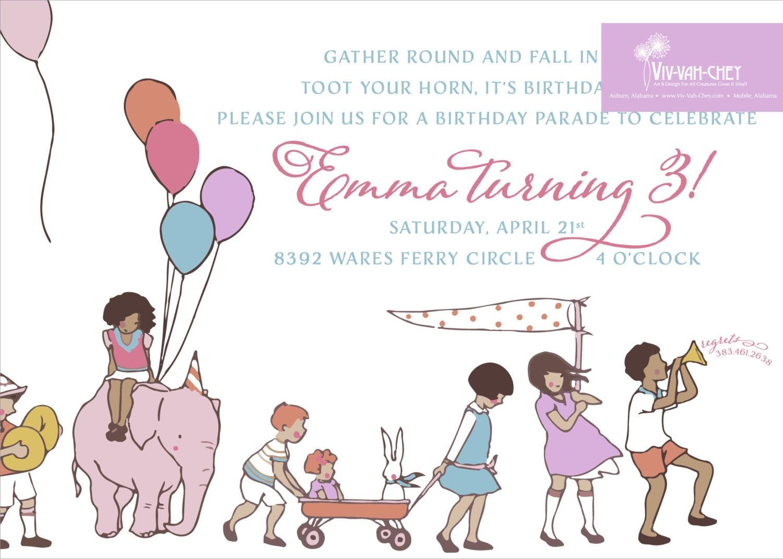 Children On Parade   Birthday Party Invitation