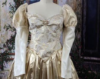 Gold lame Renaissance gown