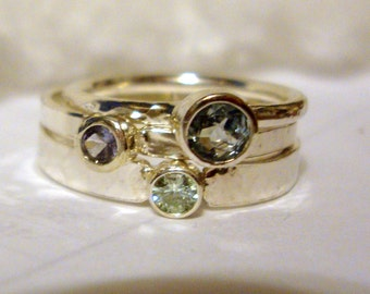 Pastel 3 ring stack Moissanite, Aquamarine, Tanzanite, 14k gold, sterling silver Fair Trade, eco-friendly, conflict free Custom made in USA