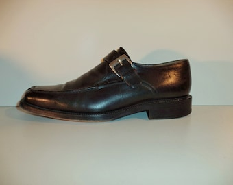 Fratelli Rossetti oxfords// 90s black leather traditional buckle Italian designer dress shoes// Men's size 9 USA 8 UK