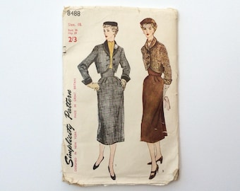 FF B36 1950s Suit Skirt and Jacket Sewing Pattern : Simplicity 8488
