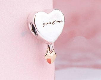 Valentine's Day Two Hearts Hanging Charm, 100% 925 Sterling Silver with Solid 14K Gold Fits to all Pandora Charm Bracelets Jewelry Diy