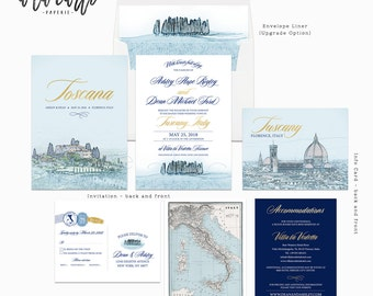 Destination wedding invitation Tuscany Florence Italy Navy Gold - customizable European Illustrated Wedding Invitation Suite Deposit Payment