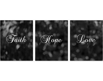 Home Decor CANVAS, Faith Hope Love, Black and White Wall Art, Bedroom Wall Art, Kitchen Decor, Black and White Bokeh Art Prints - HOME130