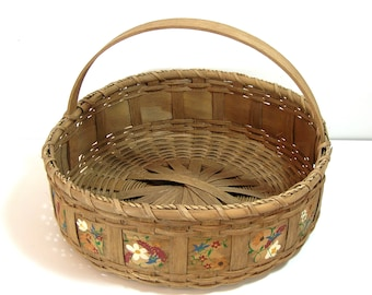 Oak Splint Basket Hand Painted Handmade Vintage Basket