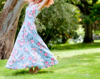 Women's Pink Roses on Blue Bespoke Dress