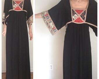 Vintage Boho Dress, Maxi Dress, Caftan, Draped Sleeves, Black Long Dress, Priestess, Witch, Empire Waist, HIppy, Gypsy, Bohemian Viking